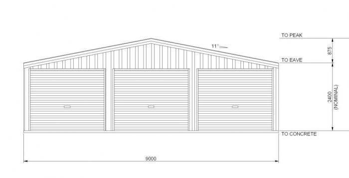 Triple garage 9m x 6m
